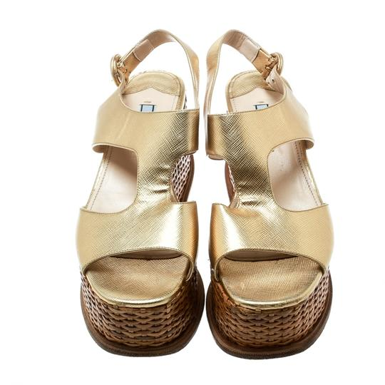 Prada Leather Wedge Gold Sandals Image 4
