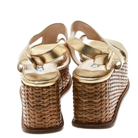Prada Leather Wedge Gold Sandals Image 5