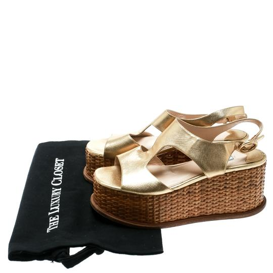 Prada Leather Wedge Gold Sandals Image 7
