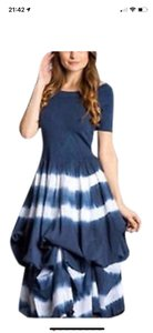 blue and white tie-dye Maxi Dress by J Squad
