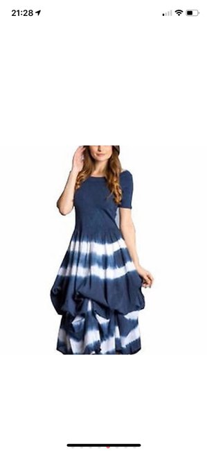 blue and white tie-dye Maxi Dress by J Squad Image 2