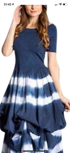 blue and white tie-dye Maxi Dress by J Squad Image 5