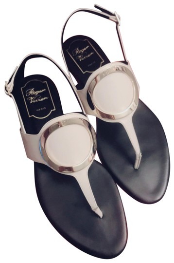 Preload https://img-static.tradesy.com/item/25123130/roger-vivier-white-round-buckle-leather-sandals-size-eu-37-approx-us-7-regular-m-b-0-1-540-540.jpg