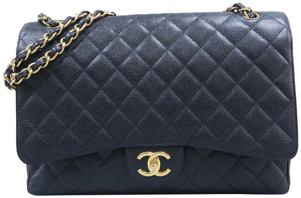 242c0673326a Chanel Classic Flap Classic Maxi Double Black Caviar Shoulder Bag ...