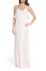 Amsale Blush Avery Strappy Ruffle V-neck Traditional Bridesmaid/Mob Dress Size 0 (XS)