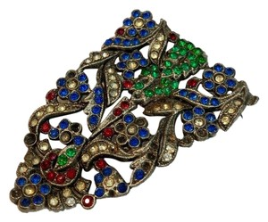 Vintage Vintage early antique colorful flower brooch pin