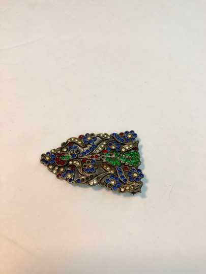 Vintage Vintage early antique colorful flower brooch pin Image 1
