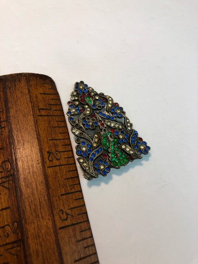 Vintage Vintage early antique colorful flower brooch pin Image 2