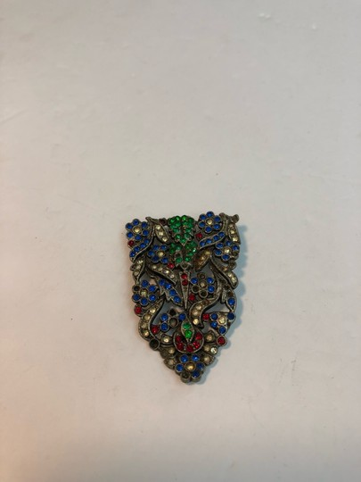 Vintage Vintage early antique colorful flower brooch pin Image 4