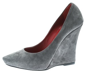 Le Silla Suede Pointed Toe Wedge Grey Pumps