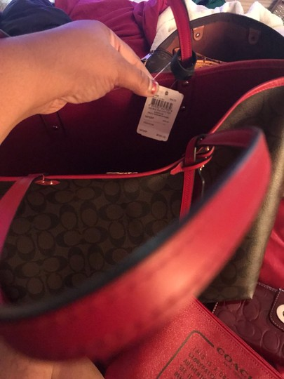 Coach Tote in Red Image 5