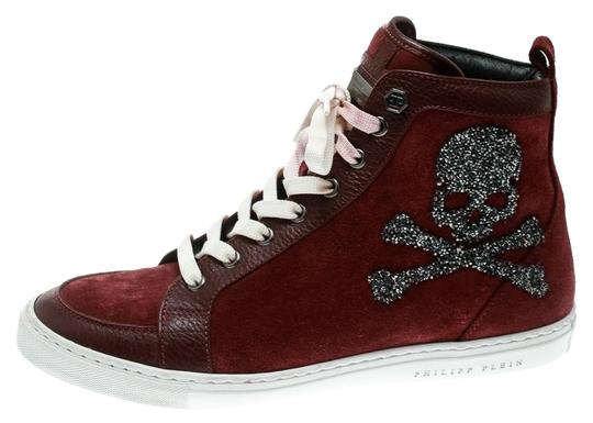 Preload https://img-static.tradesy.com/item/25123468/philipp-plein-burgundy-maroon-suede-and-leather-embellished-skull-high-top-sneakers-platforms-size-e-0-1-540-540.jpg
