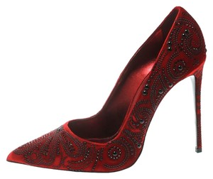 Le Silla Crystal Embellished Velvet Red Pumps
