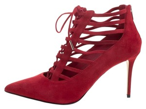 Le Silla Suede Lace Ankle Red Boots