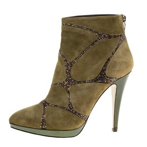 Rene Caovilla Suede Embellished Green Boots