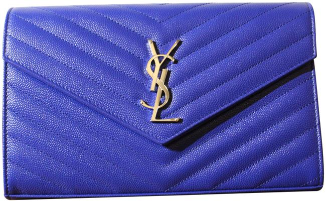 Item - Chain New Monogramme Contrast Piping Blue Leather Shoulder Bag