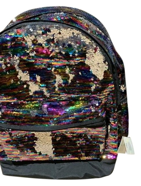 Item - Glitter Black Multi Color Polyurethane & Canvas Backpack