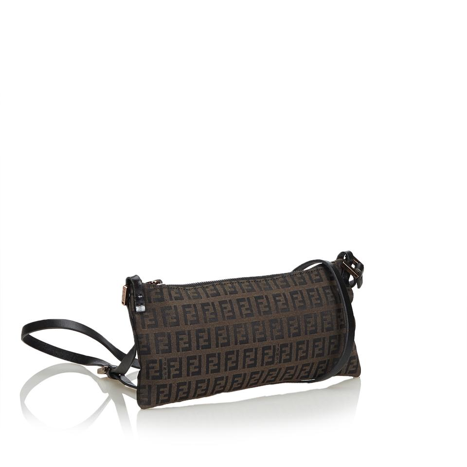 555e6a461588 Fendi Dark Fabric Zucchino Italy Brown Canvas Leather Cross Body Bag -  Tradesy