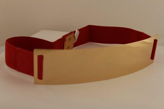 Alwaystyle4you Red Gold Metal Plate New Women Elastic Belt High Waist Hip Image 4