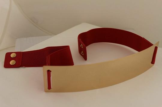 Alwaystyle4you Red Gold Metal Plate New Women Elastic Belt High Waist Hip Image 5