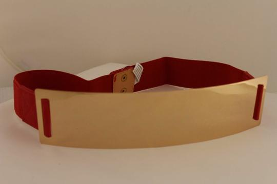 Alwaystyle4you Red Gold Metal Plate New Women Elastic Belt High Waist Hip Image 7