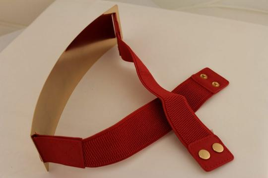 Alwaystyle4you Red Gold Metal Plate New Women Elastic Belt High Waist Hip Image 9