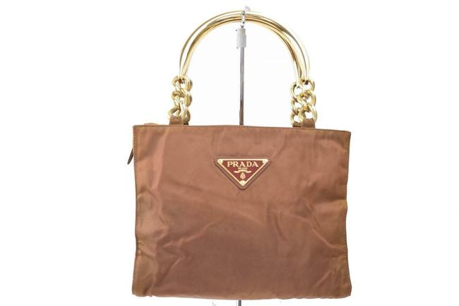 Item - Brown Iridescent Nylon and Brown Leather with Heavy Gold Handles Satchel
