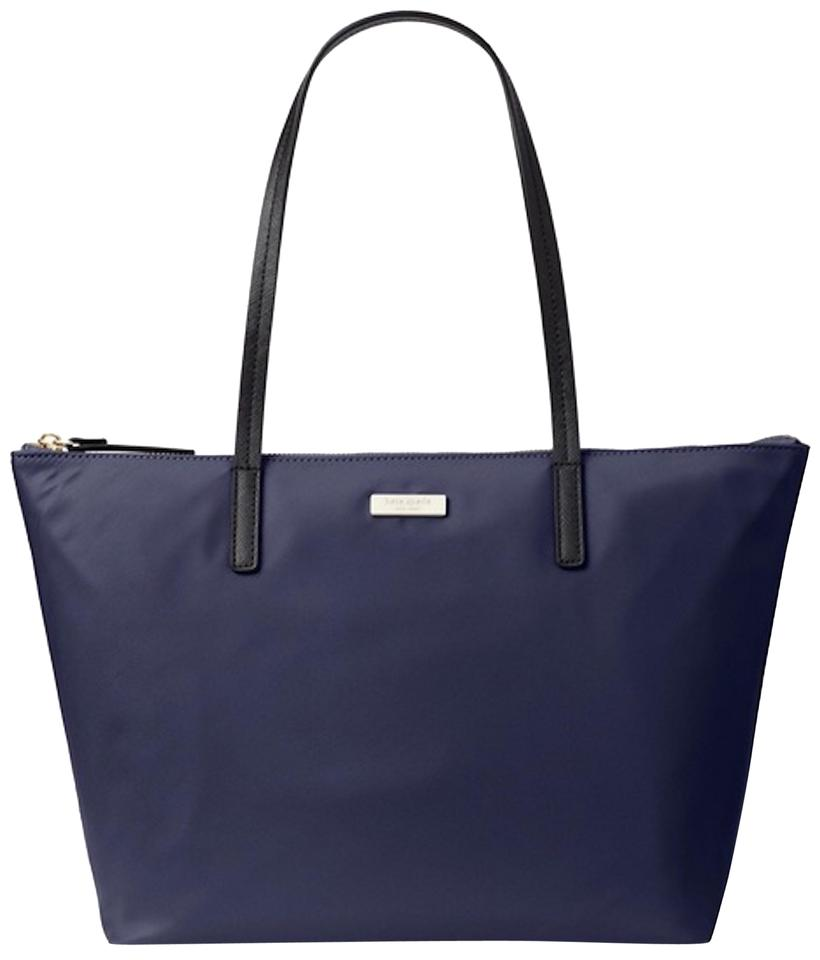Kate Spade May Street Lida French Navy Nylon Leather Tote 43 Off Retail