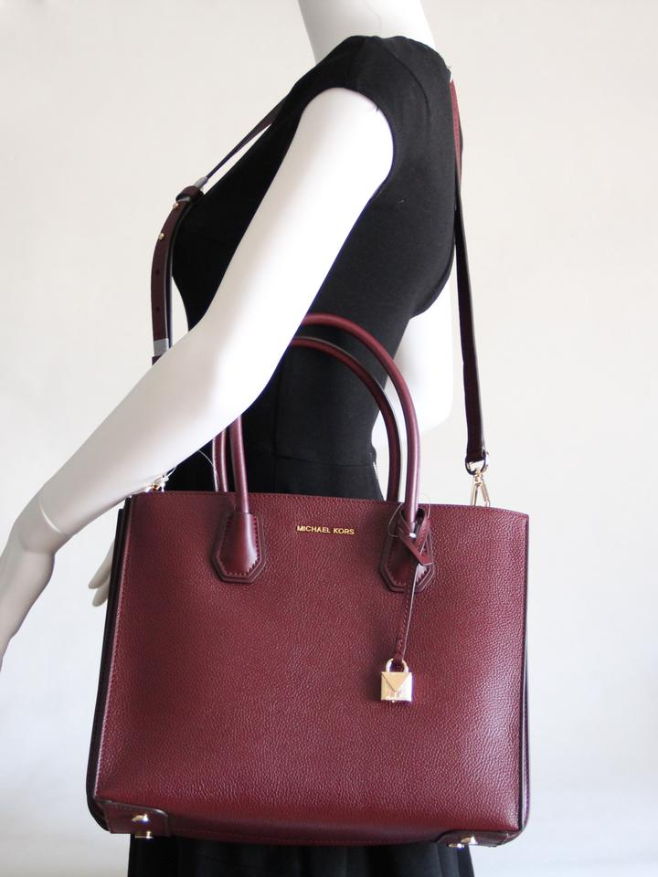 0f0e8595a5ba Michael Kors Mercer Leather Accordion Tote in Brown Image 11.  123456789101112