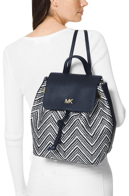 Item - Junie Chevron Flap Admiral/White/Gold Leather Backpack
