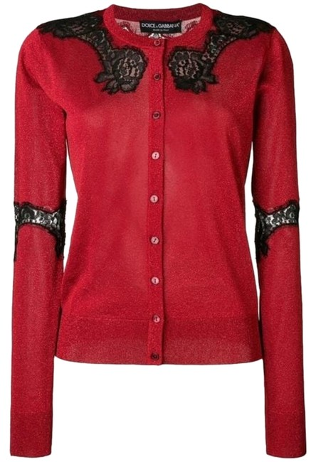 Item - Burgundy Lace Panel Cardigan Button-down Top Size 6 (S)