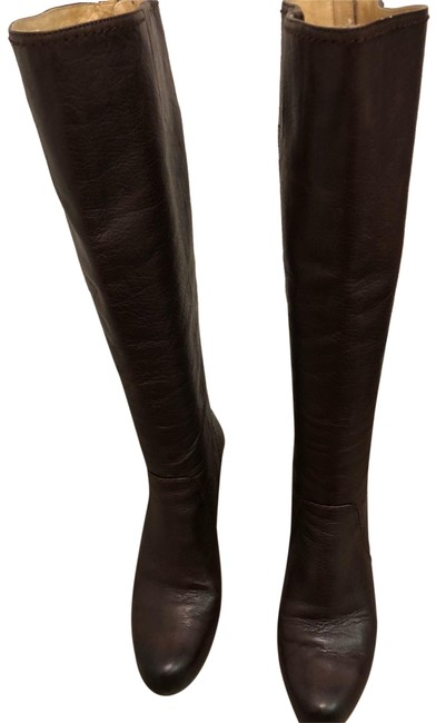 Item - Maroon Brown Tall Leather Boots/Booties Size US 7 Regular (M, B)