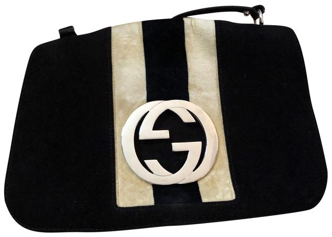 Item - Fabric Black and Cream Silver Interlocking G Leather Shoulder Bag