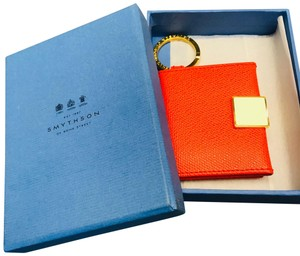 Smythson NEW AUTHENTIC Leather Photo Book Keychain ring Smythson Bond Street – orange red with white and gold