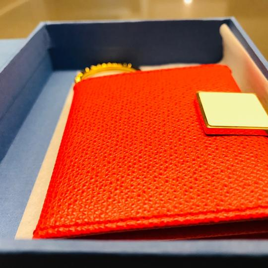 Smythson NEW AUTHENTIC Leather Photo Book Keychain ring Smythson Bond Street -- orange red with white and gold Image 1
