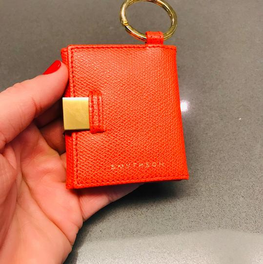 Smythson NEW AUTHENTIC Leather Photo Book Keychain ring Smythson Bond Street -- orange red with white and gold Image 10