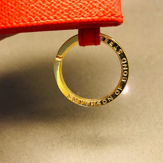 Smythson NEW AUTHENTIC Leather Photo Book Keychain ring Smythson Bond Street -- orange red with white and gold Image 2