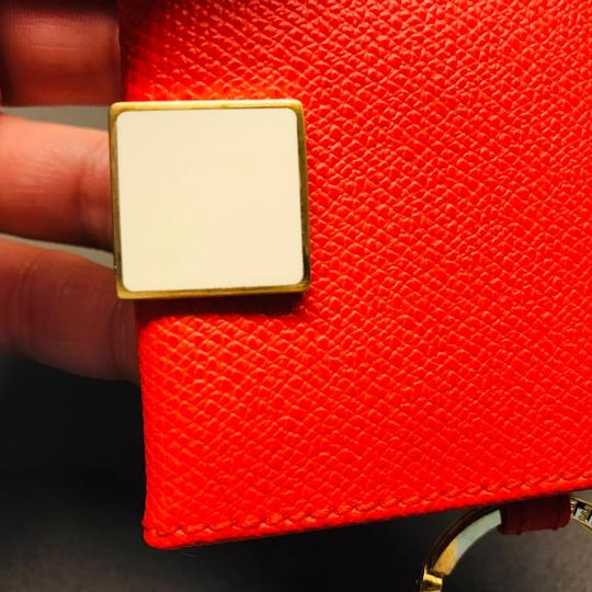 Smythson NEW AUTHENTIC Leather Photo Book Keychain ring Smythson Bond Street -- orange red with white and gold Image 3