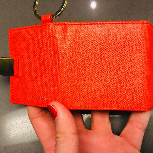 Smythson NEW AUTHENTIC Leather Photo Book Keychain ring Smythson Bond Street -- orange red with white and gold Image 8