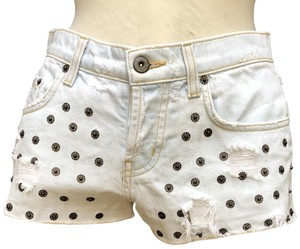 Carmar Studded Distressed Cotton Cut Off Shorts Light blue