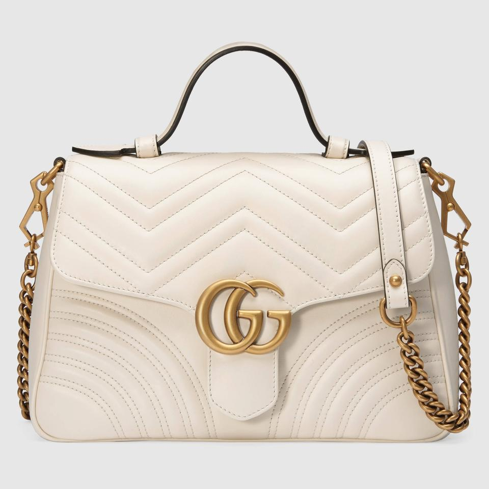 e8109e3dca0 Gucci Gg Marmont Gg Marmont Marmont Top Handle Satchel in White Image 0 ...