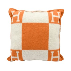 Hermès Hermes Cushion Avalon I PM Signature H Orange Throw Pillow Cushion
