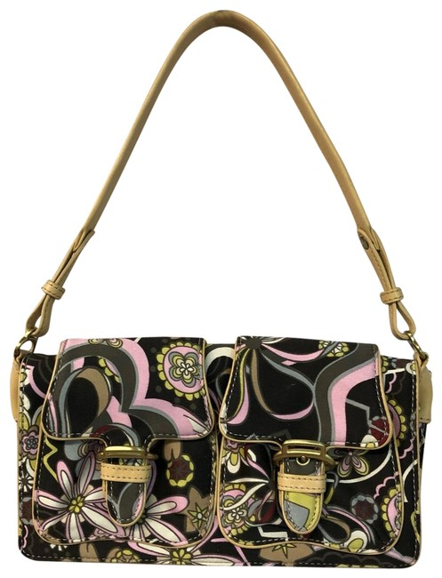 Item - Leather Trim Printed Handbag Multicolor Canvas Shoulder Bag