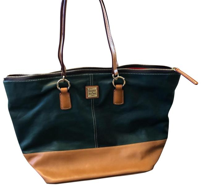 Item - Hunter Green and Tan Leather Tote