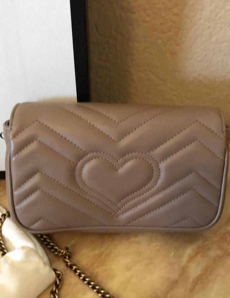 784633dc3fb7e3 Gucci Marmont Super Mini Dusty Pink/ Nude Matelasse Leather Cross ...