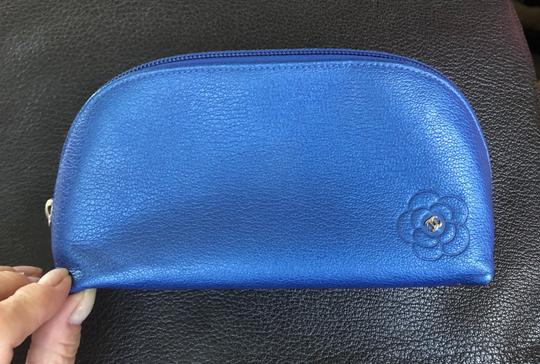 Chanel Chanel Blue Leather Cosmetic Case / Makeup Bag Image 1