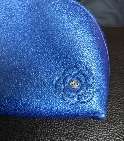 Chanel Chanel Blue Leather Cosmetic Case / Makeup Bag Image 3