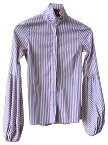 Caroline Constas Top Striped dusty rose, white and thin black stripe.