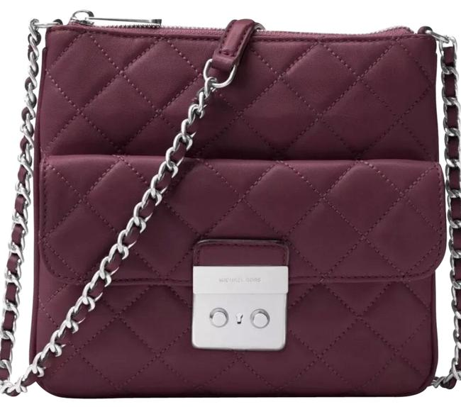 Item - New Medium Sloan Wine Purple Swing Pack Quilted-leather Purse Plum Leather Cross Body Bag