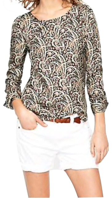 Item - Coral Black Beige Talitha Popover In Feather Paisley Blouse Size 4 (S)